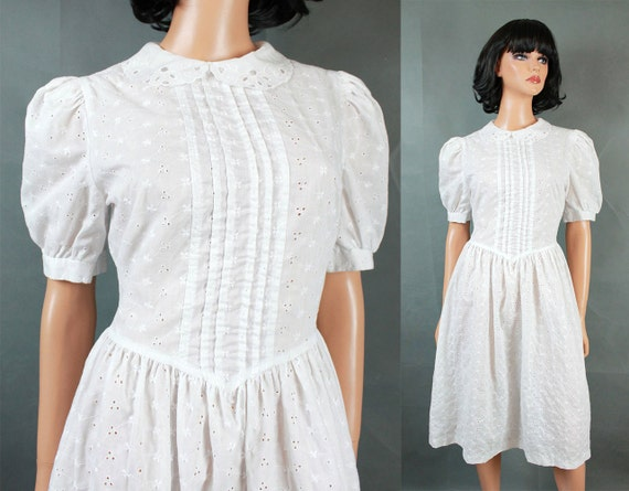 Vintage 70s Hippie Prairie Girl Wedding Dress Gown S M: Vintage Prairie Girl Dress Sz M White Cotton Embroidered