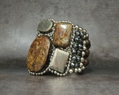 Modern Cuff Bracelet with Large Color Block Stones (Silver Pyrite & Brown)- Urban chic by Sharona Nissan
