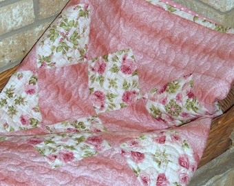 Baby Quilt, Pink Kaleidoscope 4-patch