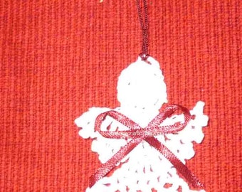White crochet angel bookmark/tree ornament  greeting card enclosure free shipping