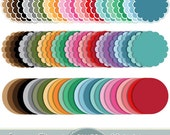Scalloped Frames Clipart Scalloped Borders Clipart Pastel Frames Clip Art Round Label Digital Frames Scrapbooking Dotted Invitations Doodle
