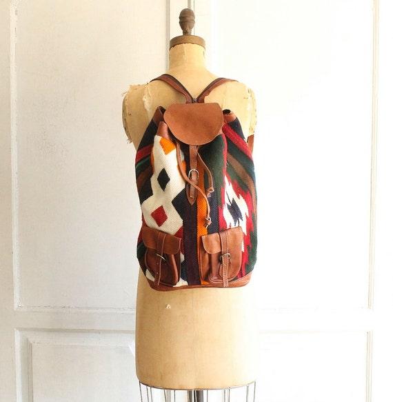 Vintage gewebter Teppich Tasche Rucksack Leder rucksack