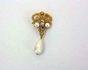 Vintage 80s Rhinestone Pearl Drop Dress Embellishment Button  2 1/2 inches Signed