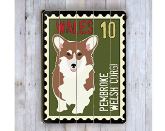 Corgi Sign, Wooden Sign, Corgi Art, Dog Lover Gift, Wood Plank, Pembroke Welsh Corgi, Dog Wall Decor, Postage Stamp Art,Dog Theme Decor