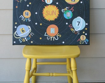 planets - original - OOAK - 16x20 canvas - childrens wall art - solar system