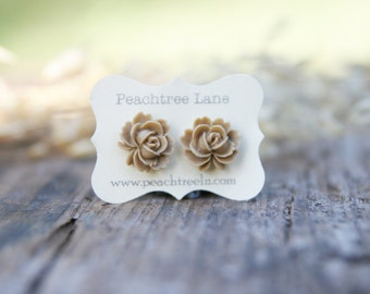 Tan Rose Flower Post Earrings // Bridesmaid Gifts // Wedding Party Gifts