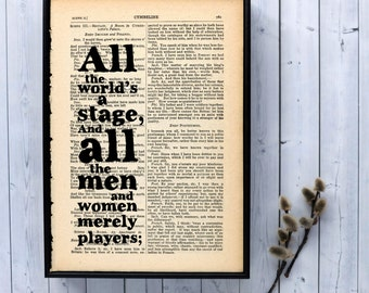 Inspirational Quote All the World's a Stage Typographic Art on Vintage Shakespeare book page
