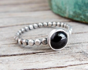 Black Onyx Ring, Sterling Silver Dotted Band, Stacking Ring, Womens Jewelry, Black Stone