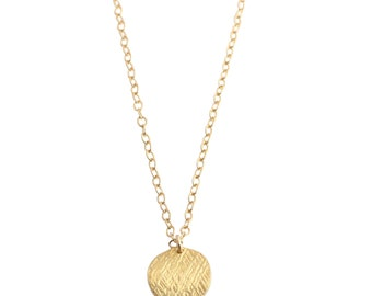 Vermeil Gold Disc necklace - small brushed gold circle pendant