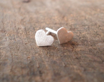 Tiny Fine and Sterling Silver Heart Stud Earrings