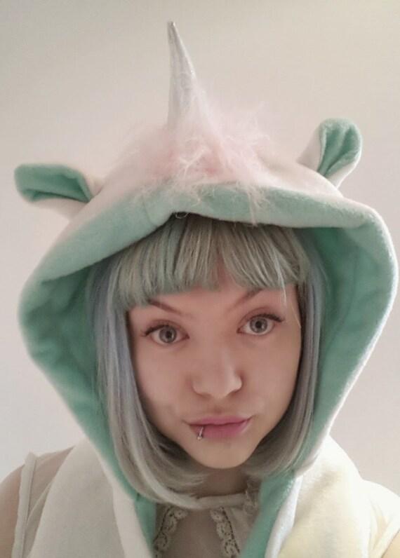 Mint and Cream unicorn Hood. Silver Unicorn horn Hooded Scarf. Festival Hood. Cosplay Hood. Fleece hood.