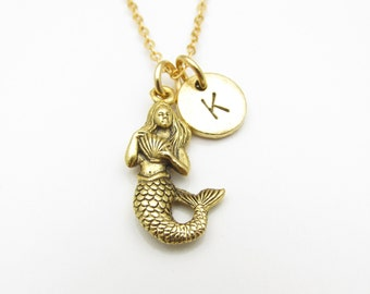 Mermaid Necklace, Gold Mermaid Charm Necklace with Personalized Initial, Mythical Creatures, Monogram Initial Necklace, Z112