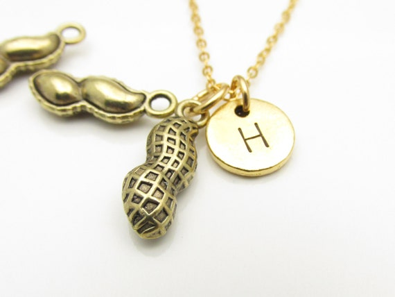 peanuts necklace antique gold peanut charm by
