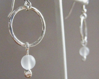 Quartz Zen - Hand Forged Fine Silver and Frosted Quartz Earrings