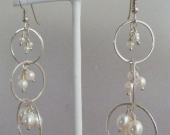 Pearls for Girls:  Hand Forged Fine Silver Hoop and Pearl Earrings
