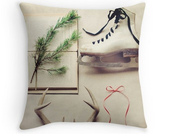 Throw Pillow Case : Vintage Winter Antler Christmas Home Decor Ice Skate Red Ribbon Neutral Palette