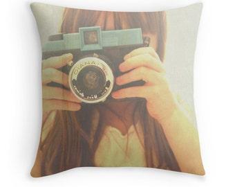 Throw Pillow Case : The Portrait Vintage Little Girl with Diana Camera Retro Blue Nostalgic Nursery Home Decor