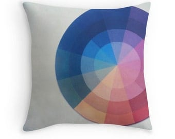 Throw Pillow Case Color Wheel : Instant Film Minimalist Home Decor Color Theory Design Art School Painting Circle