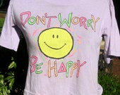 Don't Worry Be Happy, 90s girls purple Tee w Smiley Face, neon, kids M adult S