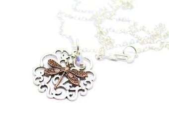 Dragonfly Filigree Necklace, Oxidized Silver Filigree Necklace, Copper Dragonfly