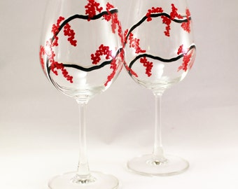 Winter Berries - hand painted wine glasses with red berries - set of 2