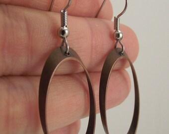 Copper Oval Earrings, Copper Earrings