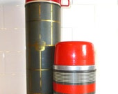 1960's Olive and Red Plaid Lumberjack Christmas Thermos Pair, Man Cave, Camp Decor
