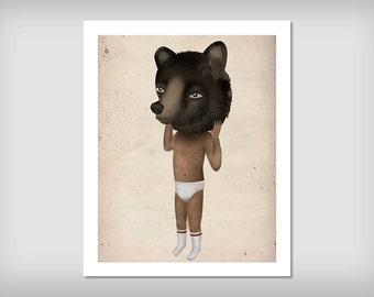 Boy in the Bear Mask illustratio Print Signed Costume HALLOWEEN