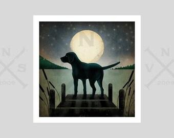Moonrise Lake Dock Dog Graphic Art Illustration Giclee Print Signed