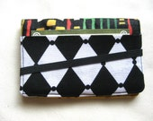 Business Card Holder Mini Wallet- Bifold Inside Outside Wallet in African Batik Wax Print with Red Green and Black