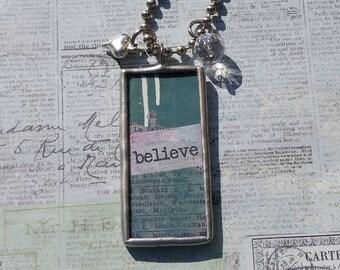 Inspirational BELIEVE Soldered Pendant Necklace