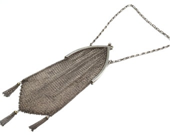 Art Deco Sterling Silver Chainmail Evening Bag