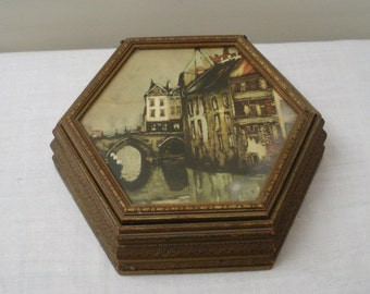 Vintage Gold Carved Hexagon Wood Jewelry Box - Sewing Box
