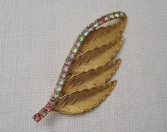 Vintage Leaf Brooch with Multi-color Rhinestones