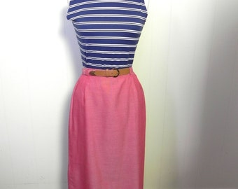 Vintage 50s Skirt Red Pencil High Waist Skirt with Belt S 27 - on sale