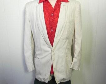 Vintage Mens Dinner Jacket 50s White Tux Hepcat Blazer - on sale
