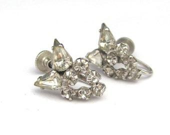 Vintage Rhinestone Earrings, Screw On Earrings, Wedding Earrings, Vintage Wedding, Party Earrings, Rhinestone Jewelry, Vintage Wedding