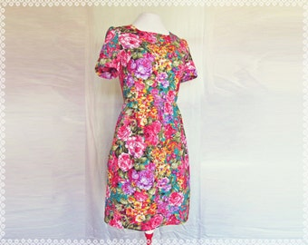 Flower Burst Floral Dress - Cuffed Sleeves Floral Summer Dress with Pockets, OOAK Dress in Size Small