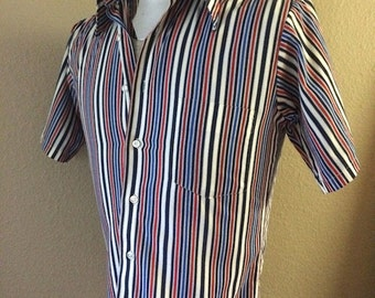 Vintage Mens 70's Shirt, Blue, White, Striped, Short Sleeve by Edgewood (S)