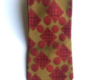 Vintage Neckties Men's 70's Clip On Tie, Olive Green, Red, Geometric, Polka Dot, Printed