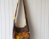 Slouchy Hobo Bag in Bleached Twill Yellow and Brown with faux leather accents