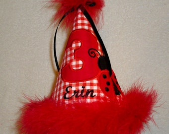 Personalized Ladybug Red Gingham Birthday Hat embroidered applique year number with a little lady bug and child's name