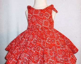 Cowgirl Twirly Sundress Square Dance Dress Red Bandana print cool cotton fabric, Baby, Infant, Toddlers and Girls Sizes