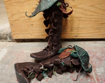 Knee High Owl Forest Boot / Moccasin Hand Stitched Thick Bullhide Upper With Durable Vibram Sole
