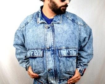 Vintage Levis Acid Wash Hip Hop RAD Denim Winter Jacket