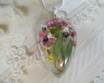 Pink, Purple, Maroon Alyssum, Queen Anne's Lace Pressed Flower Glass Teardrop Pendant-Gifts 25 & Under-Symbol Worth Beyond Beauty,Peace
