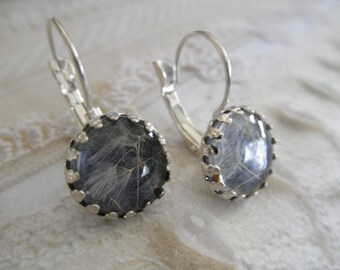Dandelion Wishes-Dandelion Seeds Under Glass Atop Midnight Blue Crown Leverback Earrings-Ride The Wind-Symbolizes Happiness-Gifts Under 30