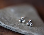 5mm Sterling Silver Triangle Stud Earrings, Granulation dots, Three tiny silver balls, triple bead, modern everyday earrings
