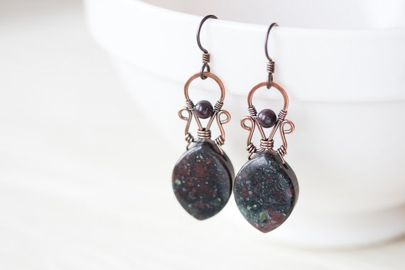 Unique long jasper earrings, natural dark plumite jasper dangle earrings, marquise stone, oxidized hammered copper wirework, artisan jewelry