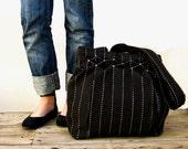 Striped, Smocked, Pleated - Black Jet Bag